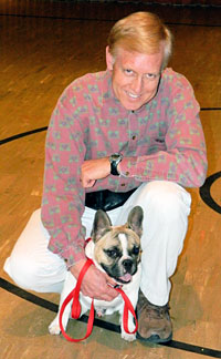 "RMR Olde French Bulldogge ""Kirby"" and his owner at training class"